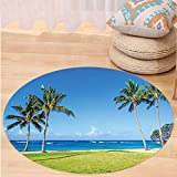 VROSELV Custom carpetHawaiian Decorations Coconut Palm Trees and Lawn on the Sandy Poipu Beach in Hawaii Kauai Picture Bedroom Living Room Dorm Decor Blue Green Round 79 inches