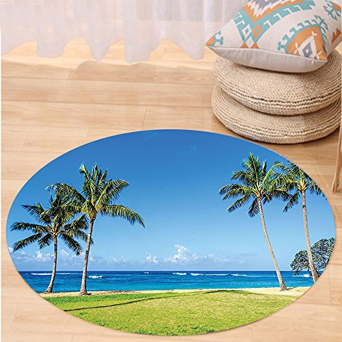 VROSELV Custom carpetHawaiian Decorations Coconut Palm Trees and Lawn on the Sandy Poipu Beach in Hawaii Kauai Picture Bedroom Living Room Dorm Decor Blue Green Round 79 inches by VROSELV