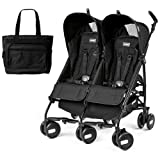 Peg Perego - Stroller Pliko Mini Twin Onyx Black With Black Diaper Bag