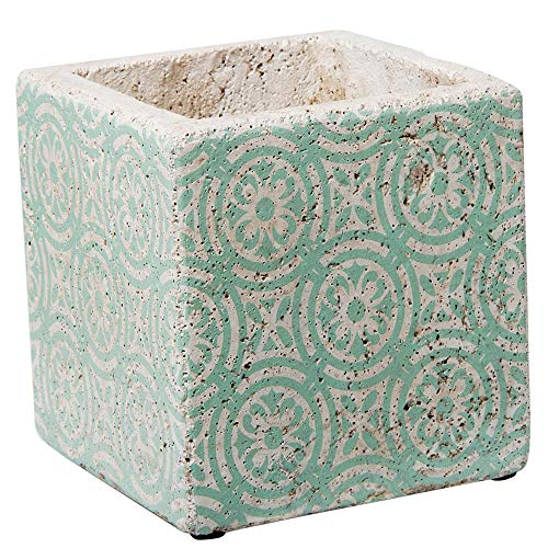 - TAG Square Nomad Cement Pot Planter Teal Blue Green and White