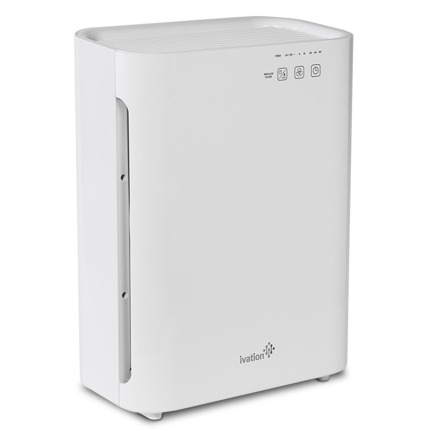 Ivation Medium Size 3-in-1 True HEPA Air Purifier Sanitizer and Deodorizer with UV Light - True HEPA Filter, Active Carbon Filter and UV Light Cleaner for Home or Office - 323 Sq/Ft Coverage, White