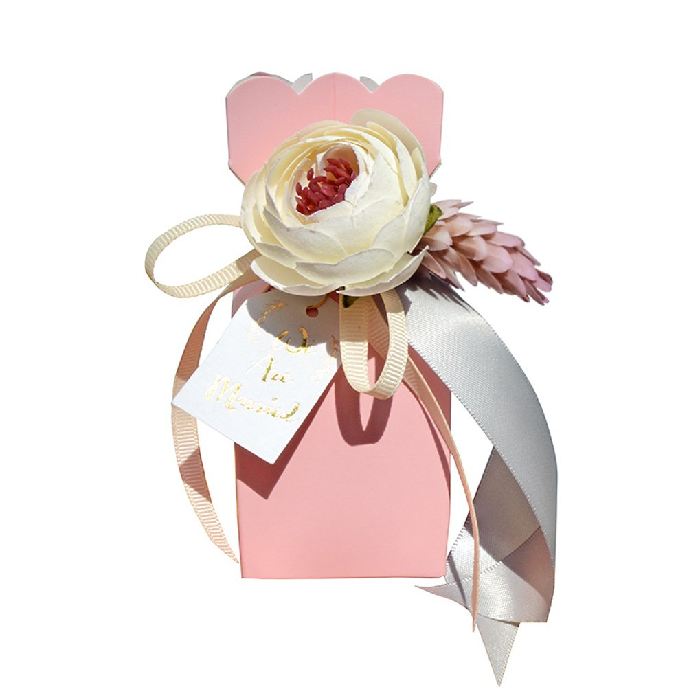Moleya Pack of 20 pcs DIY Wedding Favors Candy Boxes with Ribbon and Flower for Engagement, Bridal Shower Party, Princess Pink by Moleya