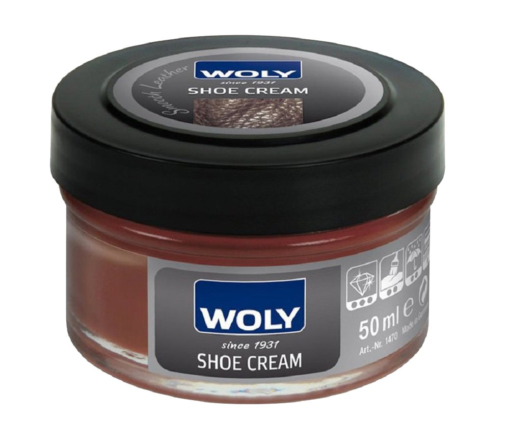 Woly Medium Brown Leather Shoe Cream Polish. Renews Color & Conditions Designer Leather Shoes