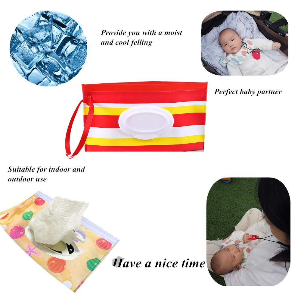 MOGOI Wet Wipe Pouch Portable Baby Wet Wipe Pouch Dispenser Reusable Baby Diaper Wipe Holder 3-Pack Refillable Clutch Baby Wipes Dispenser Holder Eco-Friendly Pouches To Keep Wipes Moist