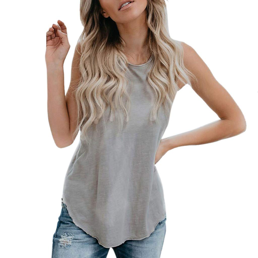 2019 Women's Summer Vest Sleeveless Solid Color Casual Irregular T-Shirt Tank Tops S-XXL (S) Gray