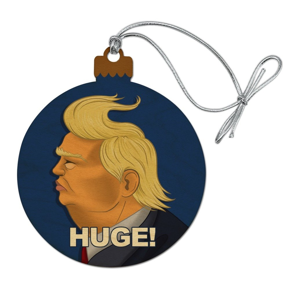 GRAPHICS & MORE Huge! Donald Trump Caricature With Wind Blowing Hair Funny Wood Christmas Tree Holiday Ornament