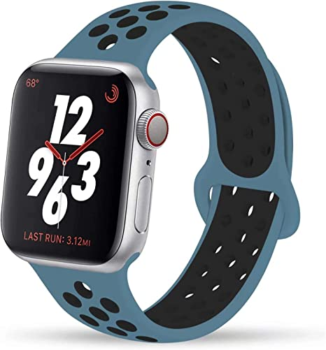 Image of VIKATech Compatible con Apple Watch Correa 44mm 42mm 40mm 38mm, Correa Deportiva Reemplazo clásico de Silicona Suave Transpirable para iWatch Series 5/4/3/2/1