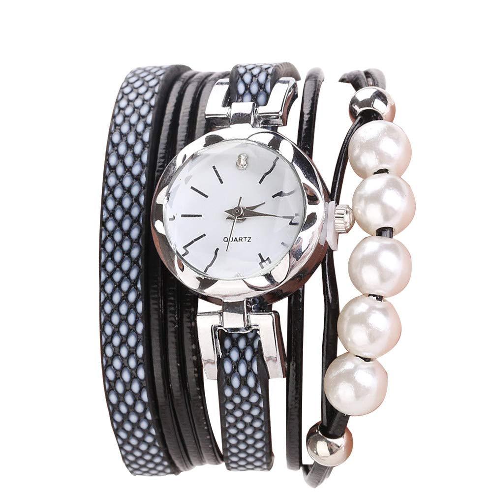 Women Quartz Watch,Lovewe CCQ Women Fashion Casual Analog Quartz Women Rhinestone Pearl Bracelet Watch (C)