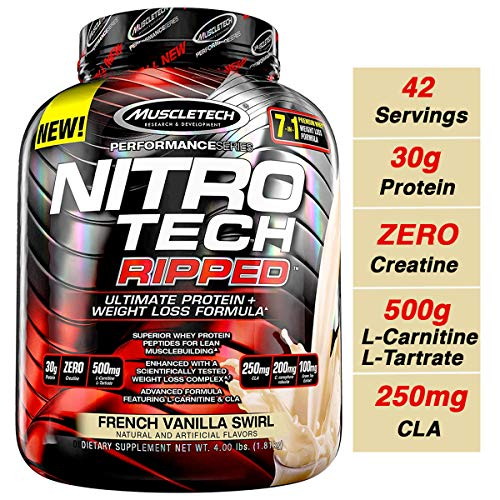 MuscleTech Nitro Tech Ripped Ultra Clean Whey Protein Isolate Powder + Weight Loss Formula, Low Sugar, Low Carb, French Vanilla Swirl, 4 Pounds (Best Protein Powder For Women Over 50)