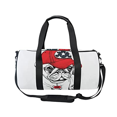 U LIFE Cool Dog Puppy White Sports Gym Shoulder Handy Duffel Bags outlet