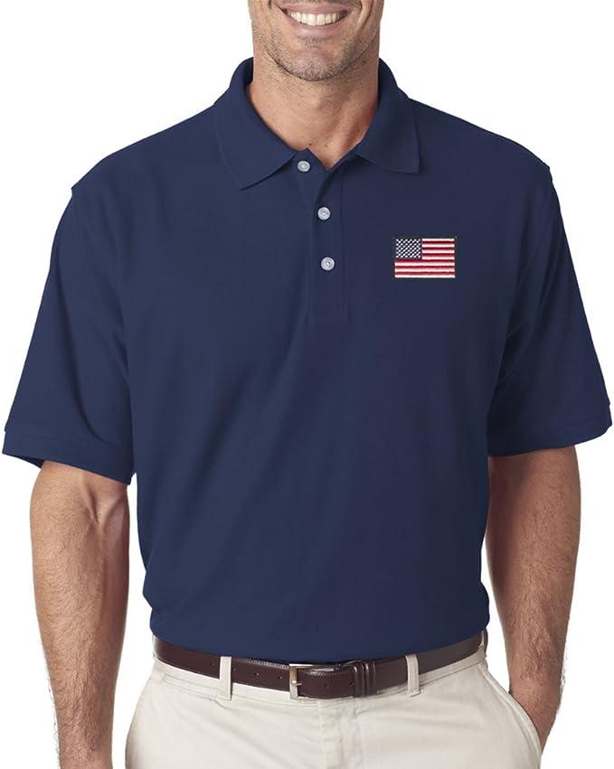 TheFlagShirt Bandera de Estados Unidos Parche Camisa de Polo para Hombre Azul Marino - Azul -: Amazon.es: Ropa y accesorios