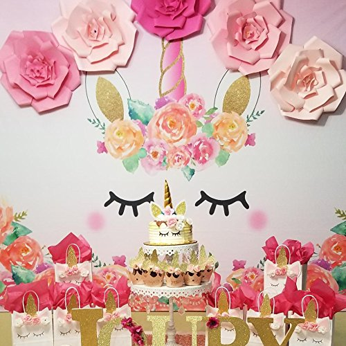 Allenjoy 7x5ft Unicorn Themed Birthday party banner photo backdrop background watercolor floral rose magical Gold Glitter stars baby shower dessert table (Stand Unicorn)