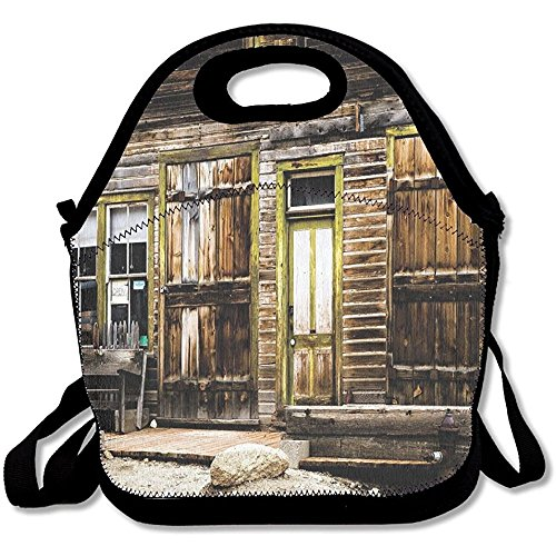 Staroind Old Wooden Plank House With Antique Door And Windows With Stones On Rocky Street Lunch Bag Tote For School Work Outdoor (Plank Antiques Old)