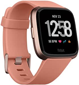 Fitbit Versa smartwatch, peach/rose gold aluminum, one size (s & l bands included)