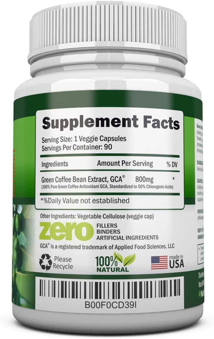 GREEN COFFEE BEAN EXTRACT with GCA, 800mg – 90 Vegetarian Capsules – Best Value For Price – Highest Quality Pure Natural Coffee Extract for Weight Loss