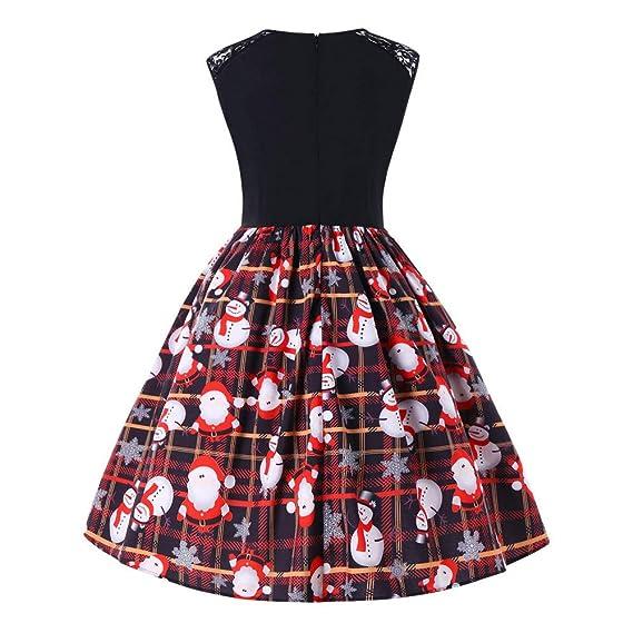 nouveau produit b2c84 1e421 ZYUEER Femme Robes Noel Vintage Manches Longues A - Ligne ...