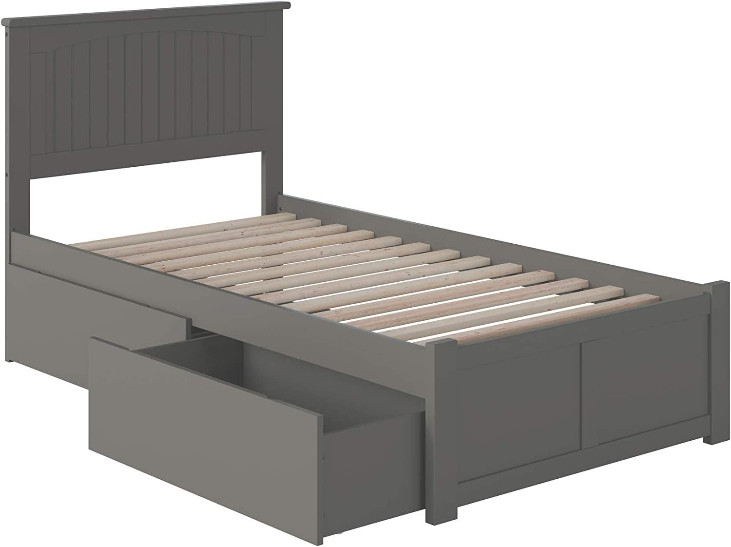 Atlantic Furniture Nantucket Platform Bed with 2 Urban Bed Drawers, Twin, Grey