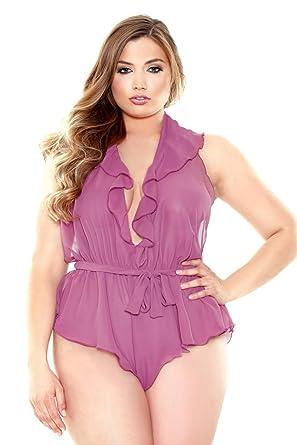 49d7de62a9e Amazon.com: Plus Size Halter Romper Teddy Lingerie: Clothing