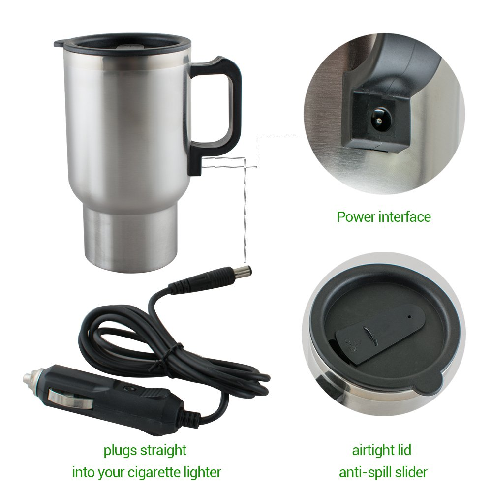 12V Electric Car Coffee Mug Cup Warmer Stainless Steel Travel Kettle Cup Heated Cooker 450 ML