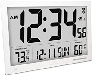 Marathon CL030062WH Slim Atomic Wall Clock with Jumbo Display, Calendar, Indoor Temperature & Humidity. Color-White