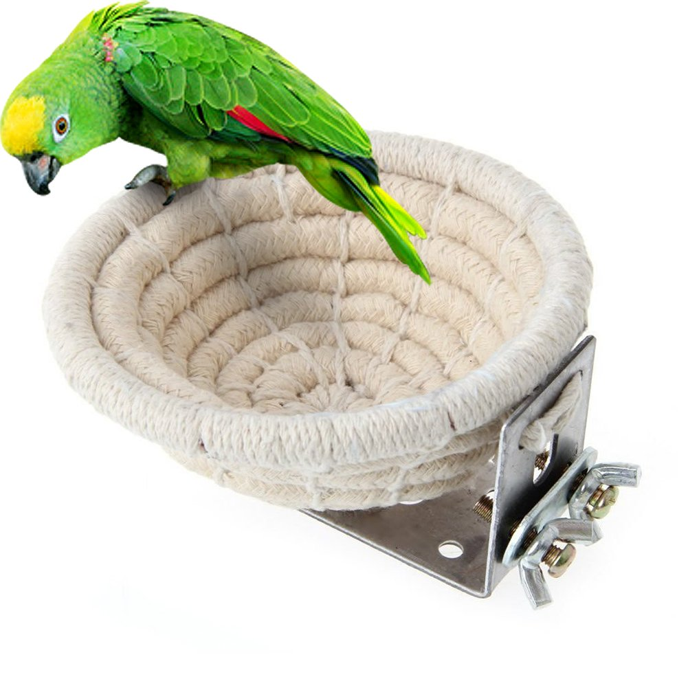 Mokook Bird Breeding House for Canary Finch Hibiscus Birds and Small Parrot Budgie Parakeet Cockatiel Parakeet Conure Lovebird, Handmade Weaved Hemp Rope Design