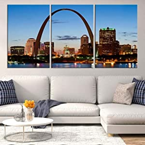 IOIP 3 Panel Canvas Prints Picture St. Louis Missouri Framed 3 Panel Wall Art Print on Canvas Home Living Room Decorations Wall Art 3 Panel 36x20inch