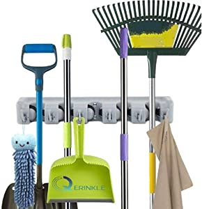 Broom and Mop Holder Wall Mounted, Garden Tool Organizer for Garage, 5 Slots 6 Hooks(Grey)