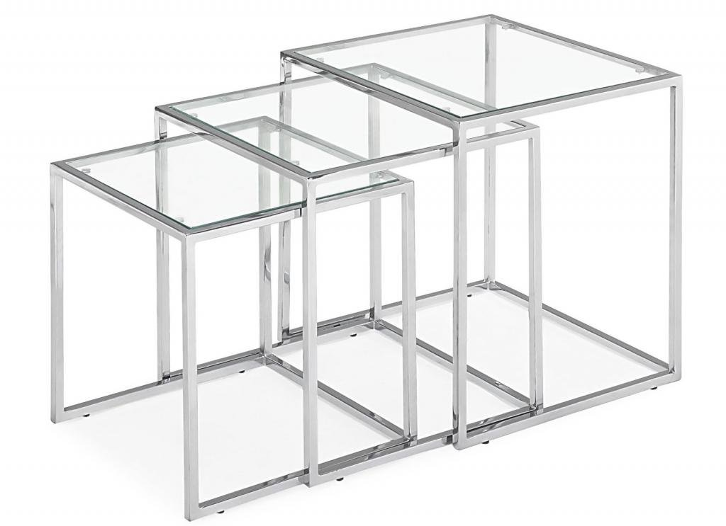 Modern Contemporary Living Room Side Table, Chrome Glass Chrome Steel