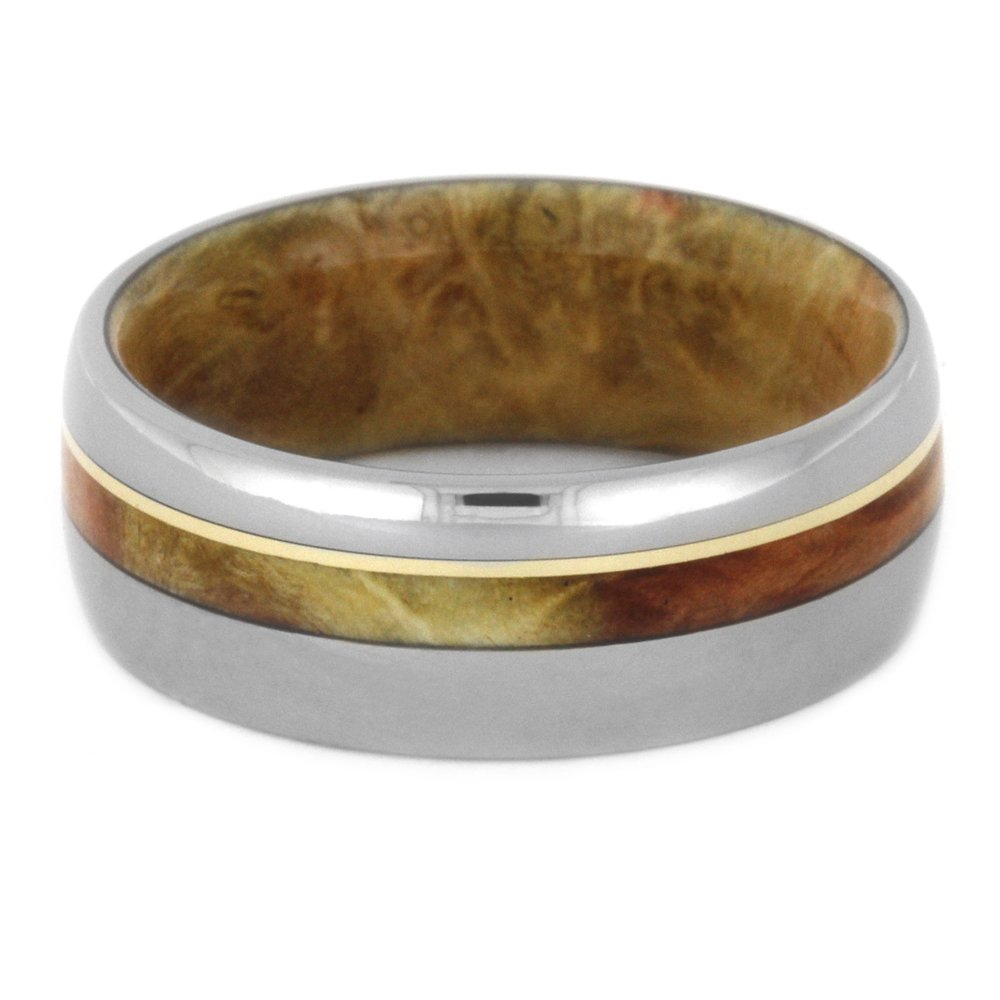 Flame Box Elder Burl, 14k Yellow Gold 8mm Comfort-Fit Titanium Wedding Band, Size 4.75 by The Men's Jewelry Store (Unisex Jewelry) (Image #3)