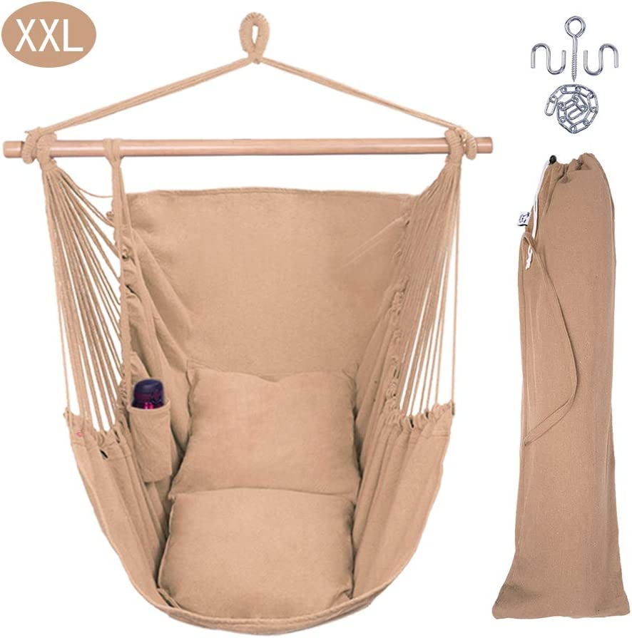 OnCloud XXL Large Hanging Rope Hammock Chair Porch Swing with 2 Pillows, Hanging Hardware and Drink Holder, Perfect for Indoor Outdoor Home Bedroom Patio Deck Yard Garden, Coffee