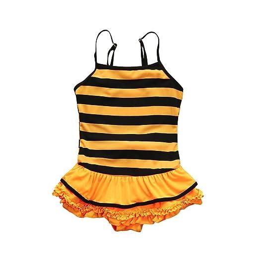 8029cf1f67fb Amazon.com  KONFA Teen Baby Girls Striped Swimwear Ruffles Rompers ...