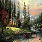 Wanrane Canvas Oil Picture 40X50CM Frameless The Cabin in The Woods Linen Canvas Oil Painting DIY Paint by Numbers