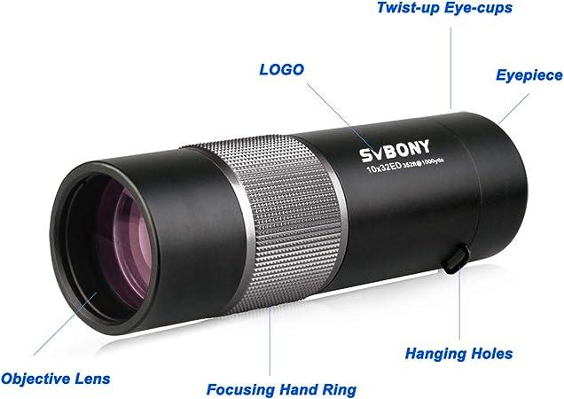 Svbony Sv36 Monokular Teleskop 10x32 Ed Bak4 Glas Kamera