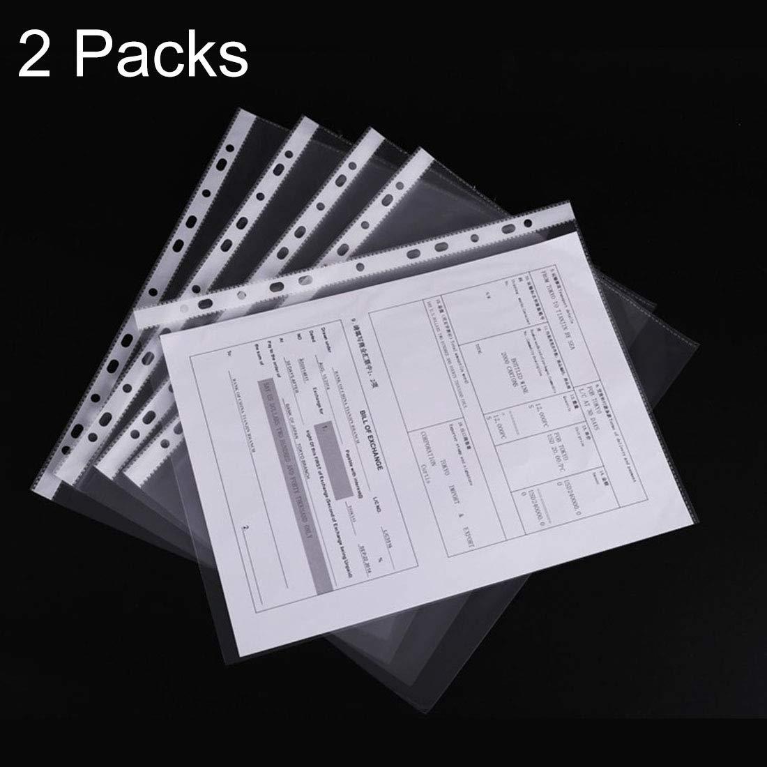 Bella PVC 2 confezioni da ufficio trasparenti da 11 fori, adatto per la protezione di file in fogli sciolti formato A4, circa 100 pezzi confezione. Portatile.