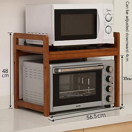 ZXCC Multiuso Cucina Scaffale per Forno A Microonde, Legno