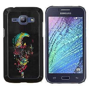 Planetar® ( Cráneo colorido Pintura Negro Corazón Rosa ) Samsung Galaxy J1 J100 Fundas Cover Cubre Hard Case Cover