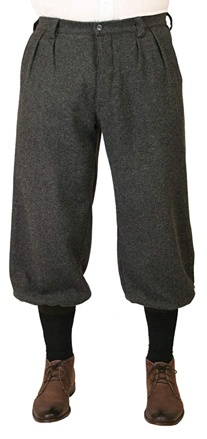 Men's Vintage Pants, Trousers, Jeans, Overalls Historical Emporium Mens Wool Blend Herringbone Tweed Knickers $74.95 AT vintagedancer.com