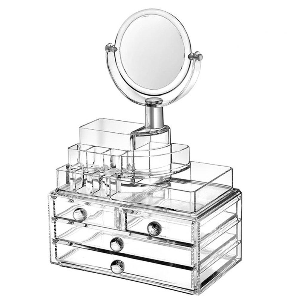Caja transparente con espejo para organizar maquillaje y accesorios.