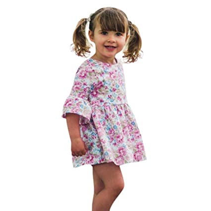 fc2880b24c7 GBSELL Toddler Kids Baby Girls Summer Clothes Sunflowe Floral Dresses Party  (Pink