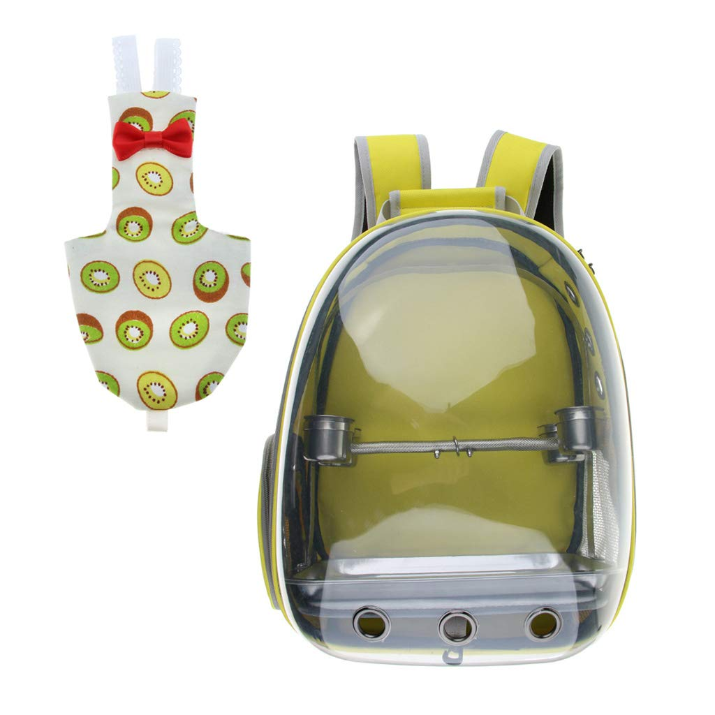 Kesoto Clear View Transport Bag Pet Parred Outdoor Travel Backpack, with Reusable Bird Nappy Diaper Urine Pad Kiwi Pattern Cockatiels Canary (Yellow)