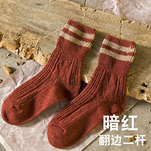 sock Wool striped thick line flanging boots knitted ladies autumn and winter comfortable breathable 7 pairs Brown XSuSFI8gh