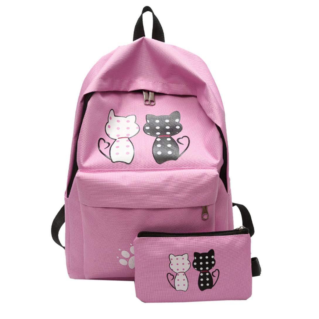Mochila escolar de nailon de 2 piezas, Outsta para niñas, estudiantes, viajes, hombros, cartera de embrague, bolsa de viaje, mochila de corte diurno, ...