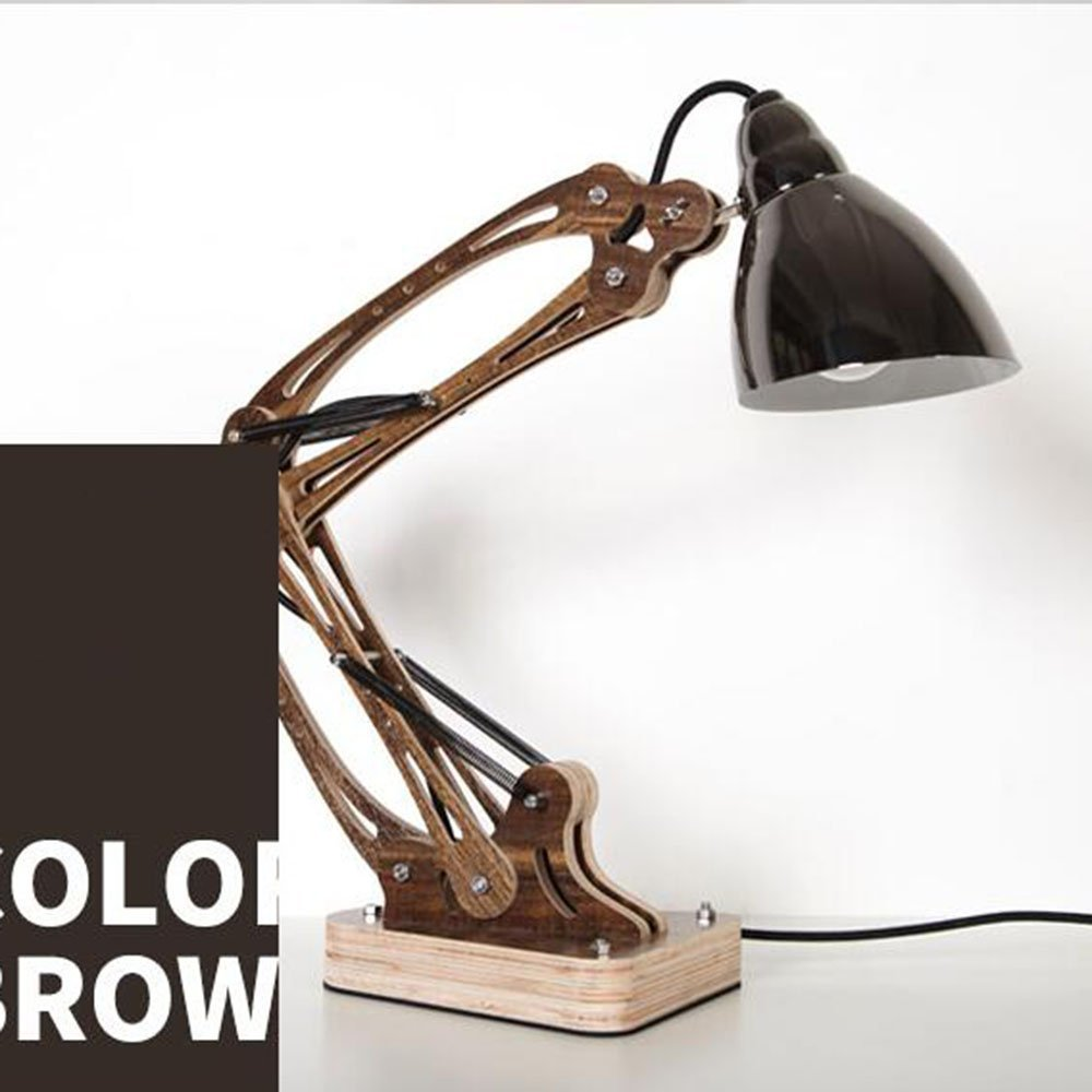 HOMEE Nordic style creative iron lampshade wooden art table lamp simple energy saving bedroom rocker arm lamps office read table lamp / 4 colors available,3