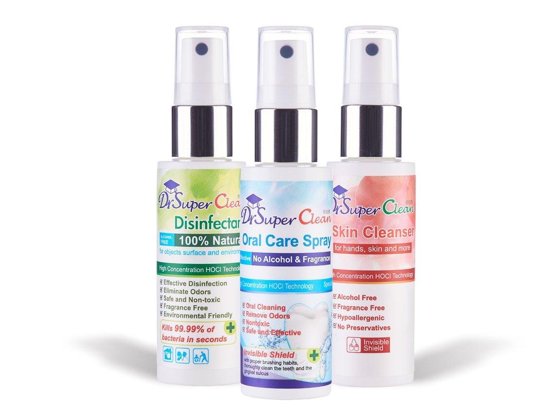 ... limpieza de cuidado Oral/multiusos superficie no limpiador desinfectante spray/limpiador para manos Alcohol & ligera piel, 1,7 oz cada: Amazon.es: Hogar