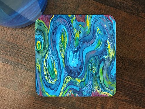 Coasters Drink Swirl (Water Color Conception Swirls Blue Green Silicone Drink Beverage Coaster 4 Pack)