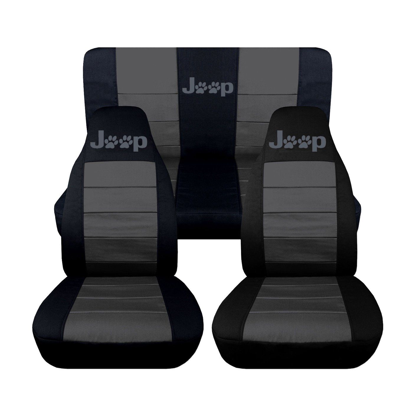 Designcovers Fits 1987 to 1995 Jeep Wrangler YJ Paw Prints 22 Color Variations Black