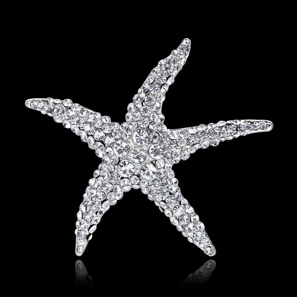 Optional Adorable Blue Crystal Rhinestone Starfish Brooches for women weddingPRA