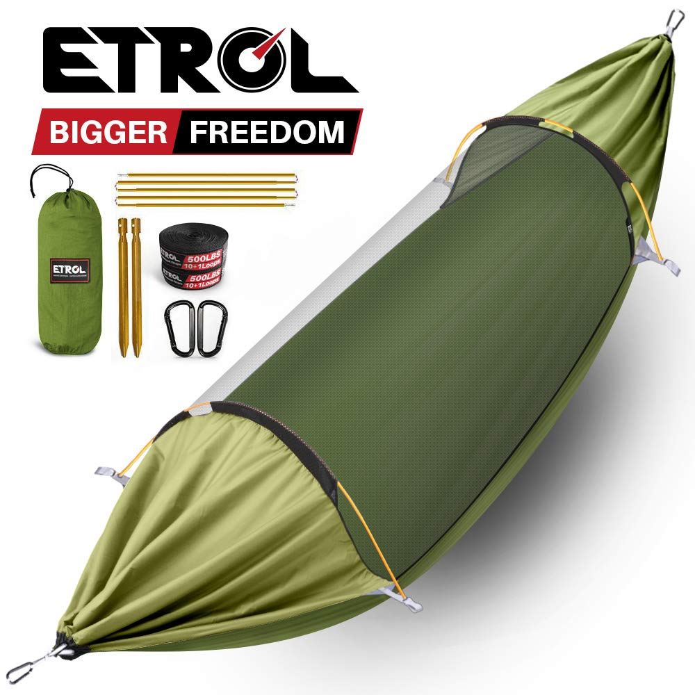 ETROL Hammock, Upgrade Camping Hammock with Mosquito Net, 3 in 1 Blackout Design Aluminium Portable Hammock Tent for Backyard, Traveling, Hiking and Other Outdoor Activities (Olive Green & Khaki) by ETROL