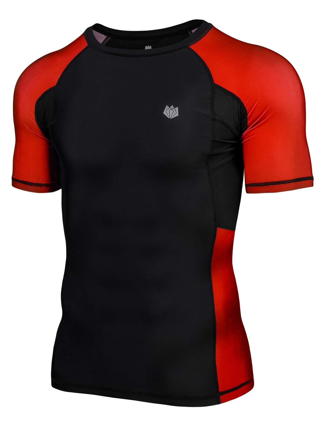 FitsT4 Men's UPF 50+ Sun Protection Short Sleeve Compression Training Swim Rash Guard Shirt for Gi,No-Gi,MMA,BJJ,Wrestling Red by FitsT4 Sports