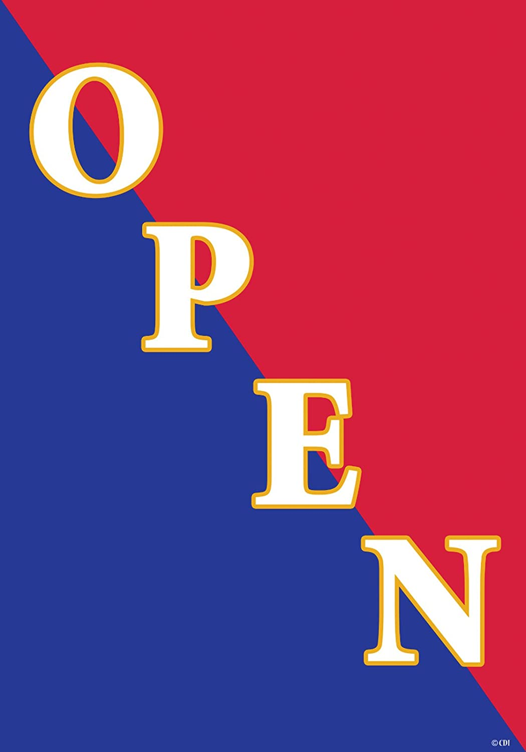 """"""" OPEN """" - Red, White & Blue - Double Sided Standard Size Decorative Flag 28 X 40 Inches"""